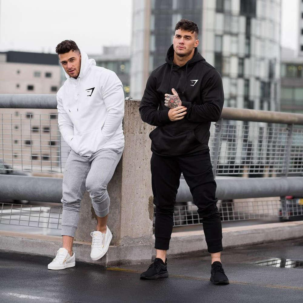 Muscle fitness shark sport Pullover men's running casual hooded sweater fashion boutique top