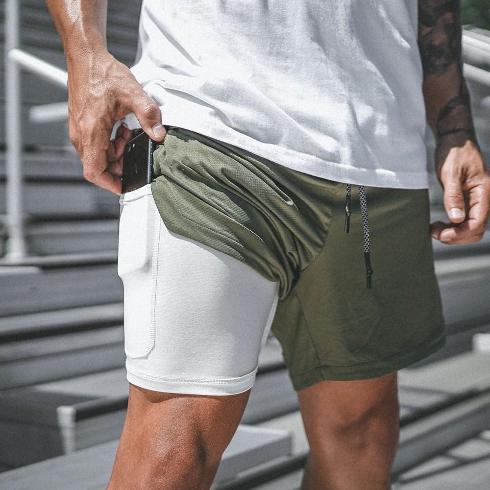 2021 hombres corriendo pantalones cortos niño deportes pantalón masculino Doble cubierta rápido secado aptitud hombres pantalones jogging gimnasio pantalones cortos hombres verano casual