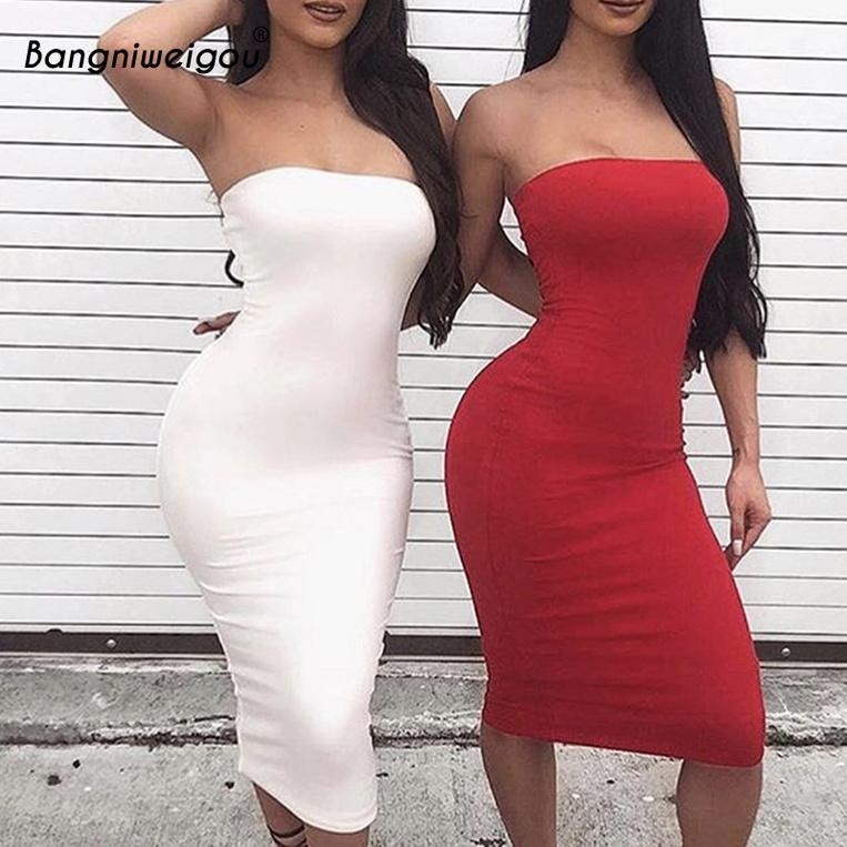 2020 Abito a tracolla Dress Summer Donne Black Bianco Bianco Basic Sundress senza spalline Strettea Bandaggio Bandaggio TOVA KG-251