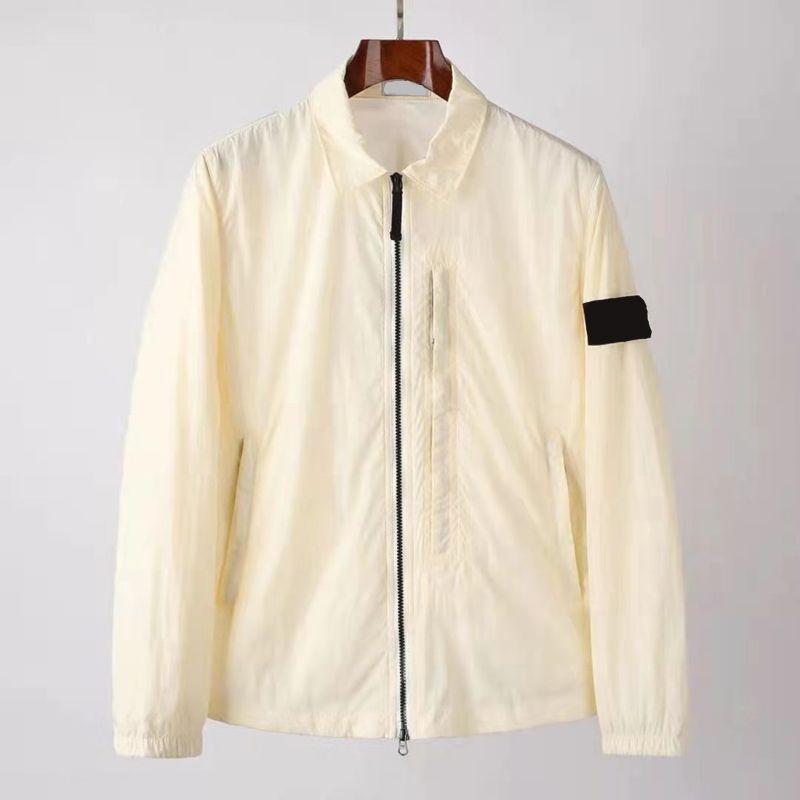 여름 chaopai 방풍과 자외선 차단제 남자 자켓 솔리드 컬러 대각선 지퍼 옷깃 커플 재킷 단순화 라이트 코트