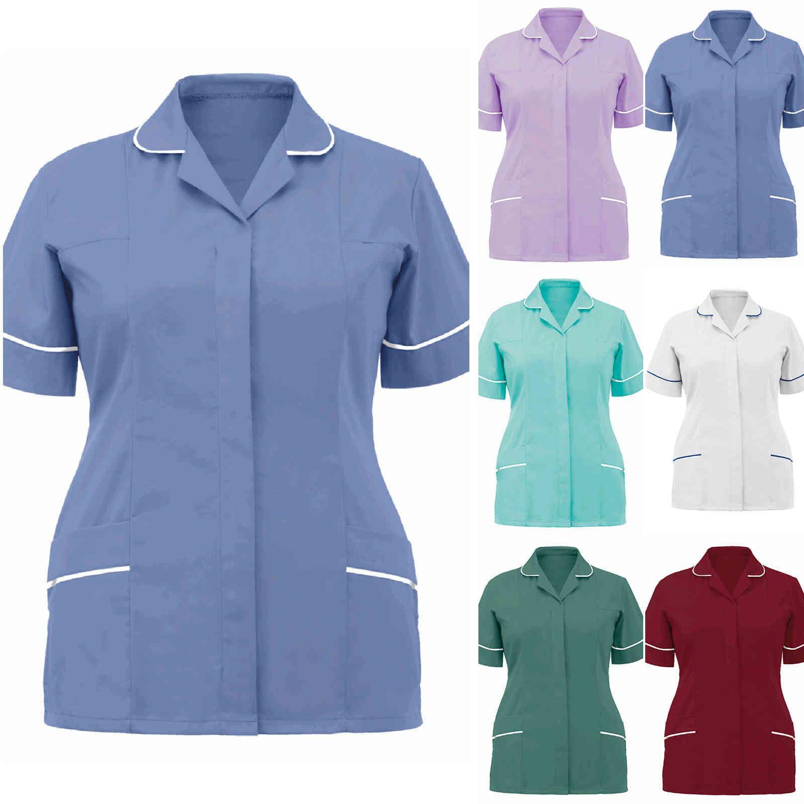 Túnica de las enfermeras de las mujeres Túnica con cuello en V de la camiseta protectora Tops Color sólido Mujer Camisetas Enfermera Uniforme Blusa Top