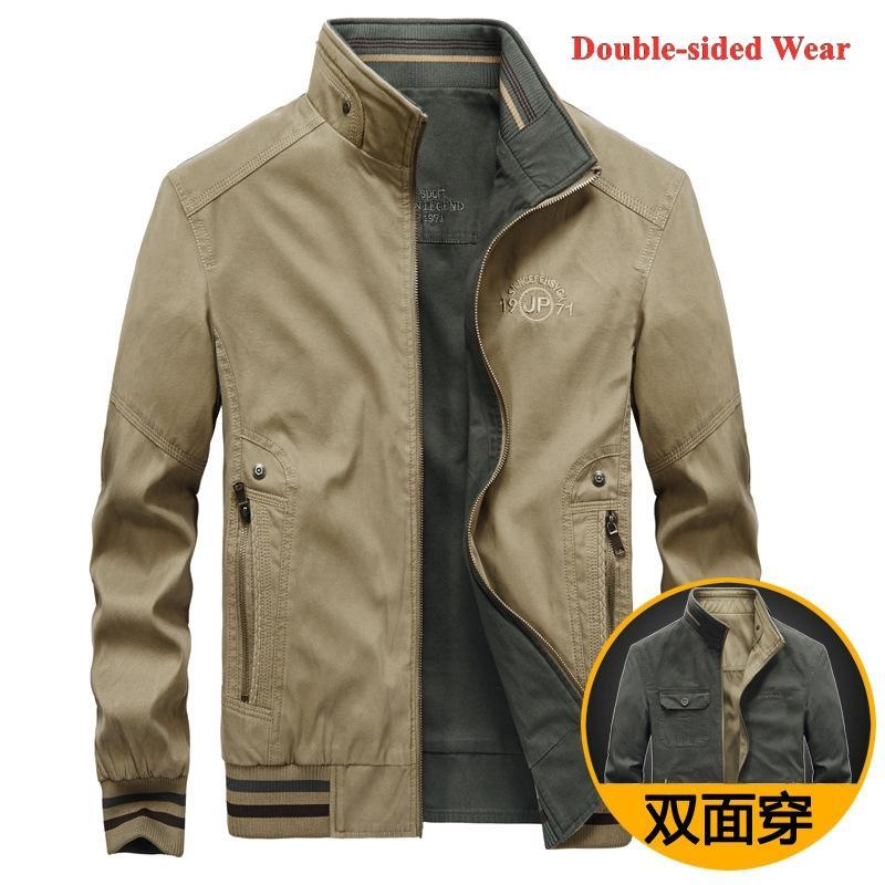 Jaquetas masculinas moda roupas primavera e outono outdoor puro jaqueta de algodão outerwear masculino casacos bonitos dupla face wear tops