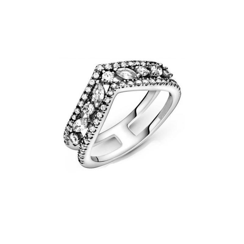 عيد الحب 925 فضة مزدوجة جوفاء تألق الدائري للنساء غرامة المجوهرات الأصلي هدية حلقات العنقودية