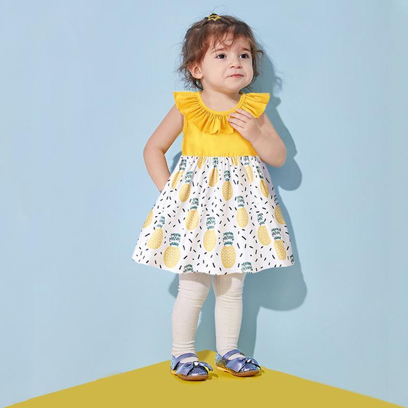 2021 New Children's Colorful Fruit Card Fruit Card Lotus Lotus Collar Princess Dress