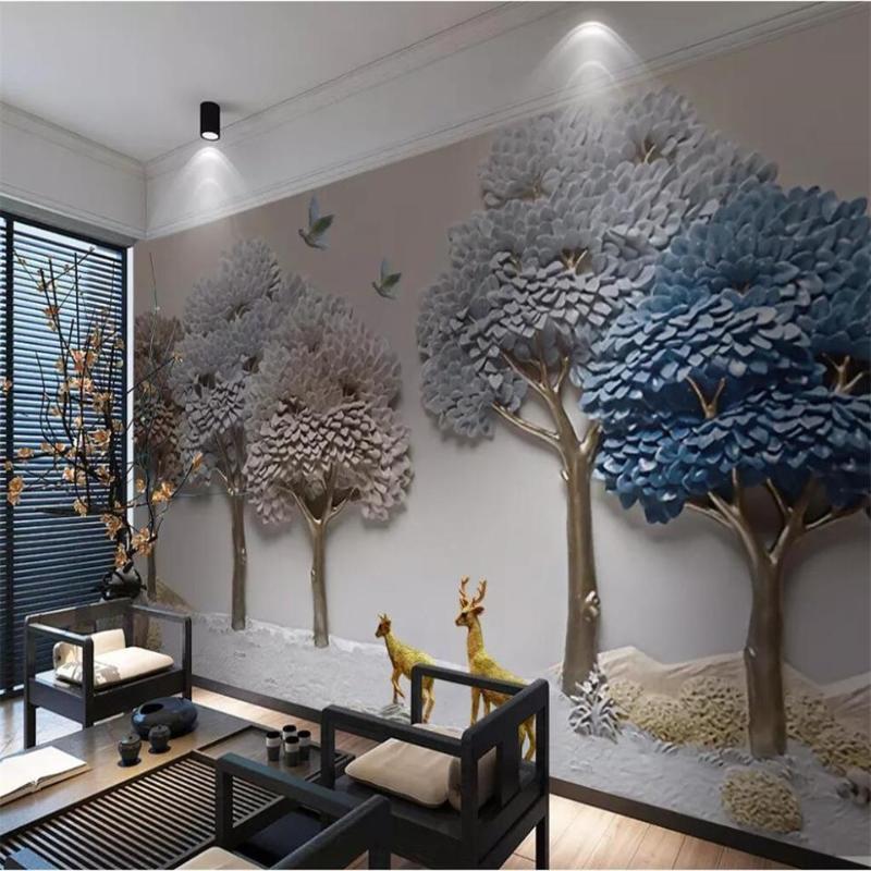 Wallpapers Tamanho personalizado 3D PO papel de parede sala sala de estar em relevo cama boa sorte árvore elk imagem sofá tv pano de fundo