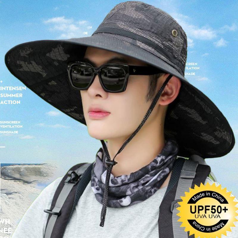 Pescador del sombrero de verano Camuflaje de verano para hombres grandes pesca de pesca transpirable sol al aire libre PROTECCIÓN DE PROTECCIÓN DE PROTECCIÓN