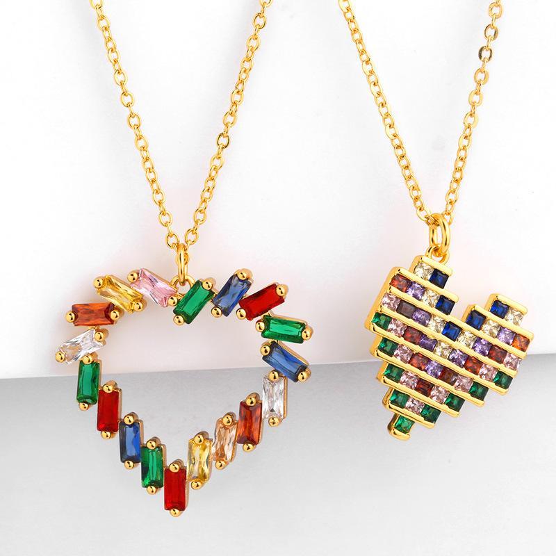 디자이너 바람 그물 레드 인스 똑같은 소녀 복숭아 심장 목걸이 다채로운 지르콘 사랑 펜던트 목걸이 nkp45