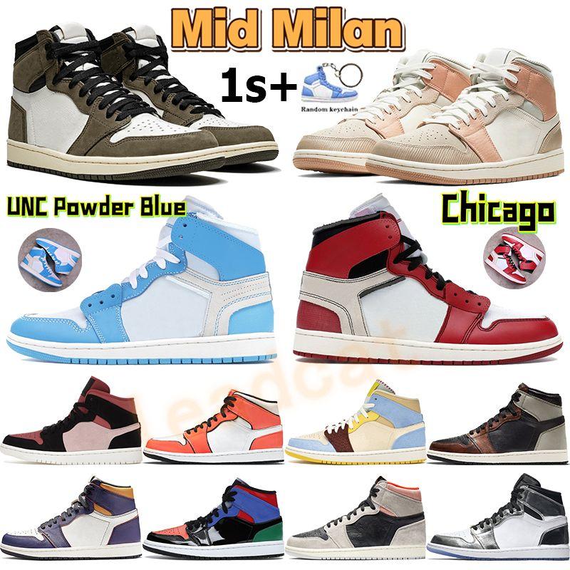 ارتفاع 1 ثانية أحذية كرة السلة شيكاغو UNC مسحوق الأزرق منتصف الرجال أحذية رياضية ميلان الوردي الكوارتز كانيون صدأ الظل الذئب رمادي الشراع الرياضة المدربين chaussures
