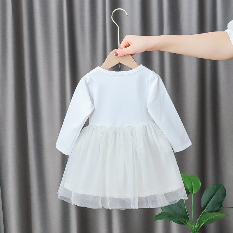 Niñas plaid applique princesa vestido primavera bebé niños manga larga ropa de encaje ropa de algodón cumpleaños vestidos de fiesta para niñas
