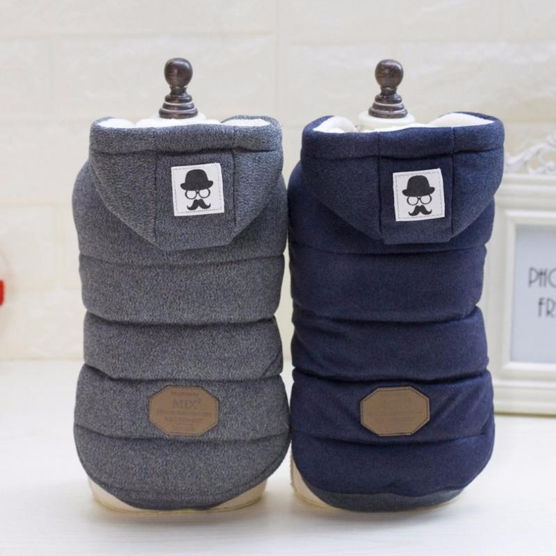 Köpek Giyim 2021 PET Kış Kapüşonlu Ceket İki Feet Pamuklu Giysiler Bıyık Desenli Sıcaklık Sağlık Bakımı İçin