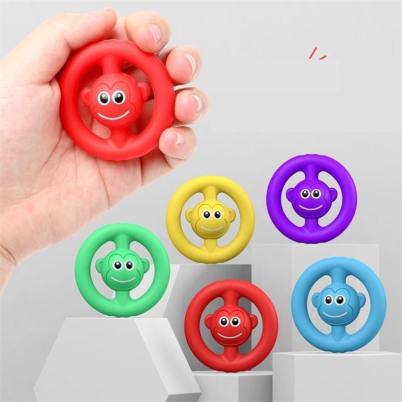 Silicone Squeal Monkey Rainbow Fidget Juguetes Grip Anillo Gritando Squeeze Compresión Antistresse Sensory Juguete Autismo Autismo Escalera G4OP9B1
