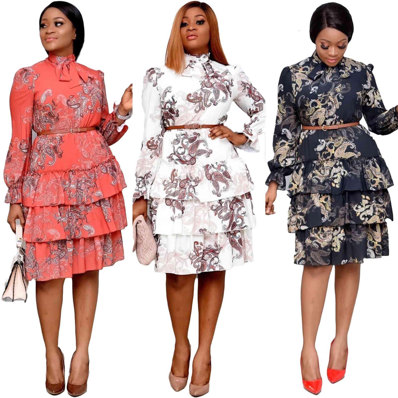 Elbiseler Bahar Sonbahar YENI Patchwork Giysi Için Robe Afrika Kadınlar Uzun Kollu Çalışma Ofisi Pileli Elbise
