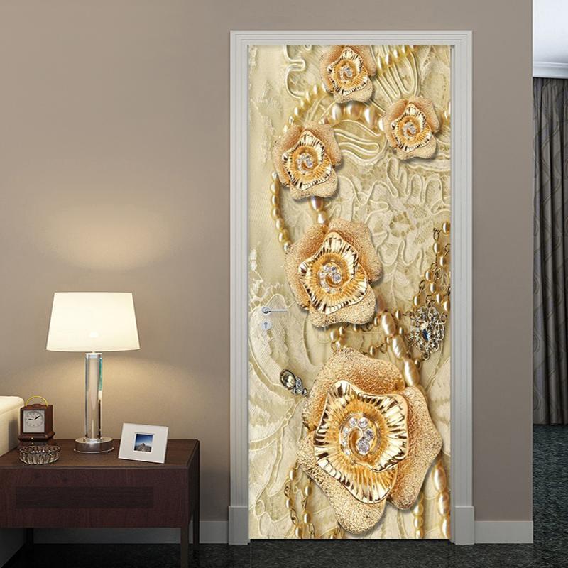 Европейский стиль 3d стерео золотые желтые цветы дверной стикер роскошный дом декор обои гостиная PVC самоклеящийся 3d стикер 210317