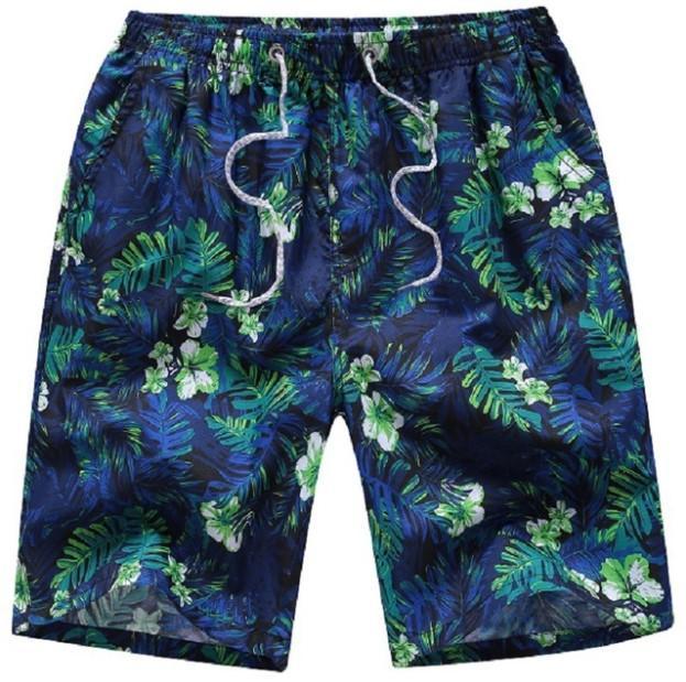 Men's Swim Pants Swimwear Shorts Slim Wear Briefs Flower Print Green Beach Size S-XL