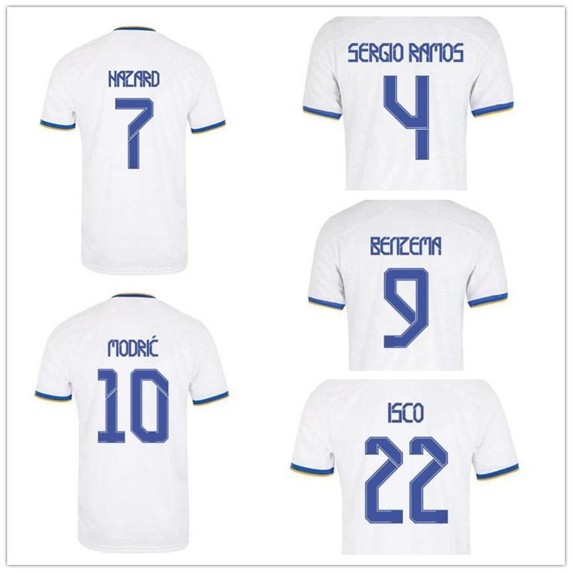 Anpassad 20-21 Mens 7 Faros Thai Kvalitet Soccer Jerseys Shirts Nacho 6 10 Modric 9 Benzema 8 Kroos 22 ISCO Nacho 6 Anpassade fotbollströjor