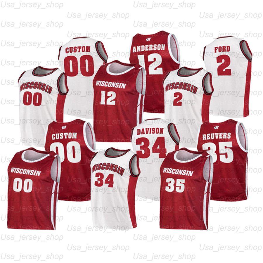 Özel Wisconsin Badgers Koleji Basketbol Formaları 23 King 2 Aleem Ford 1 Brevin Pritzl 3 Walt McGrory