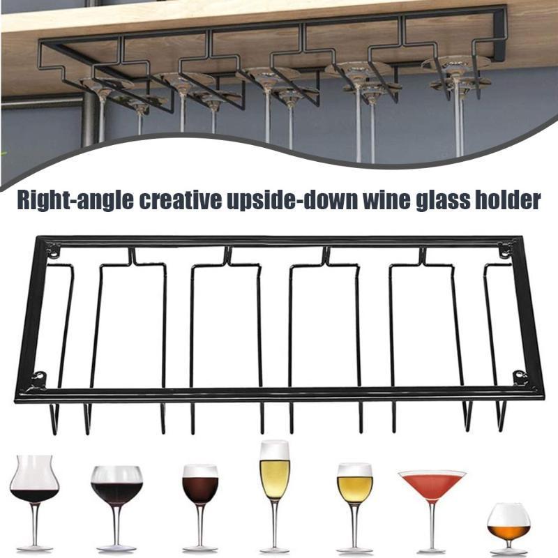 الرفاقات النبيذ المنضدية 5 حاملي نظارات فتحة تحت خزانة النادل ستيم برامج شنقا رف الزجاج كأس الحديد المنظم الوقوف للمطبخ المنزل