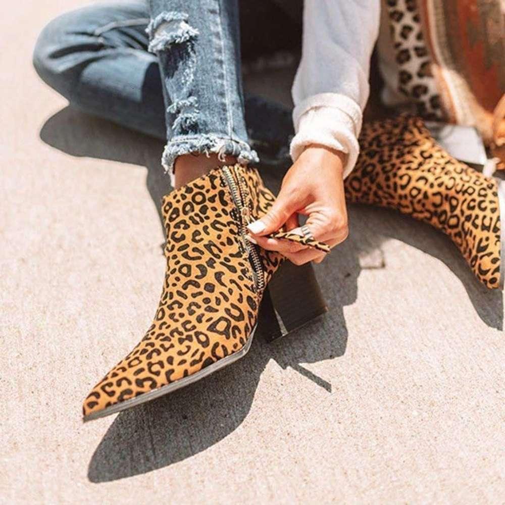 Bootsthick Большая остроконечная короткая трубка высокий каблук Мартин леопардовый печать женские ботинки
