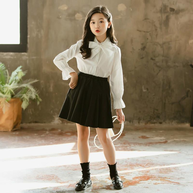 Spring Fshion Girls Blouses Bow Neck Long-Sleeved Solid Baby Girls Shirt Fashion Elegant Kids Blouses for Girls, #8289 210510