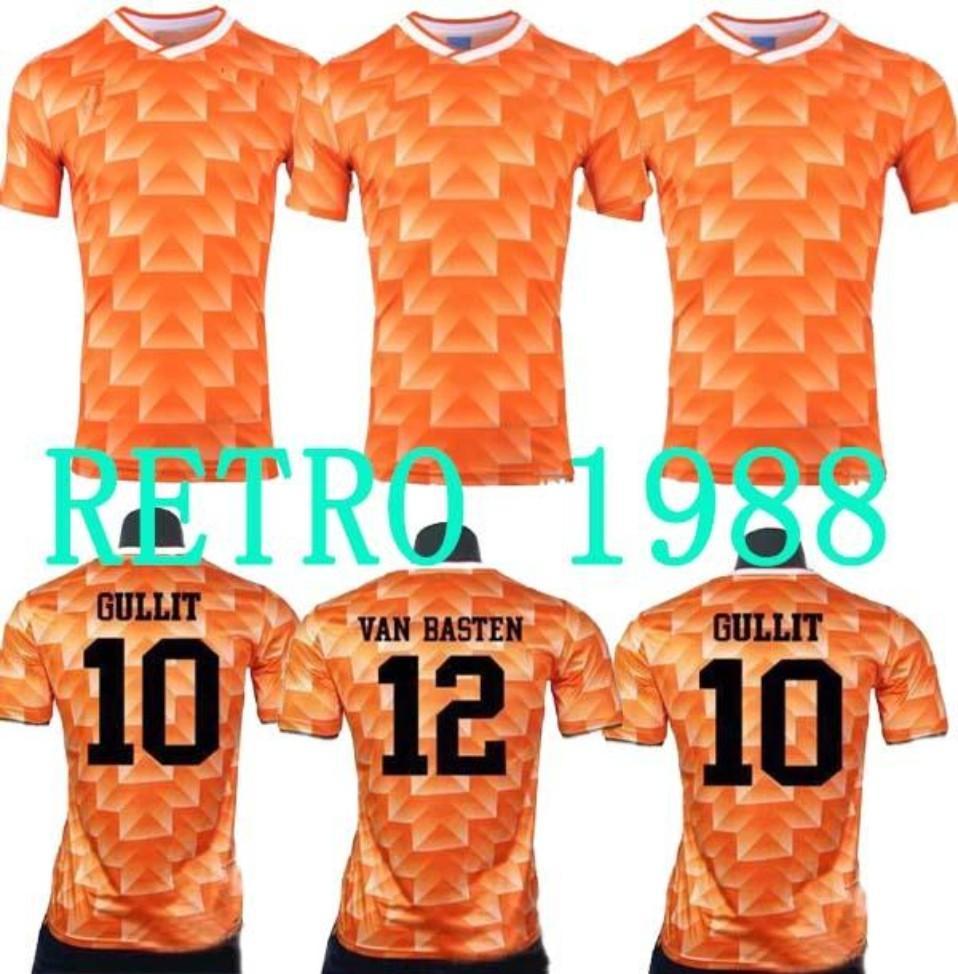 1988 Holland Retro Vintage Van Basten Soccer Uniformes Fútbol Jerseys Camisa Bordado Logo Camiseta Futbol