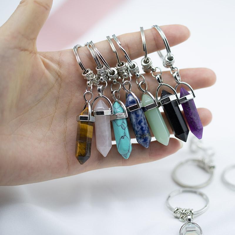 차크라 육각 프리즘 자연석 키 체인 키 링 핸드백 패션 쥬얼리 선물 드롭 선박 340041