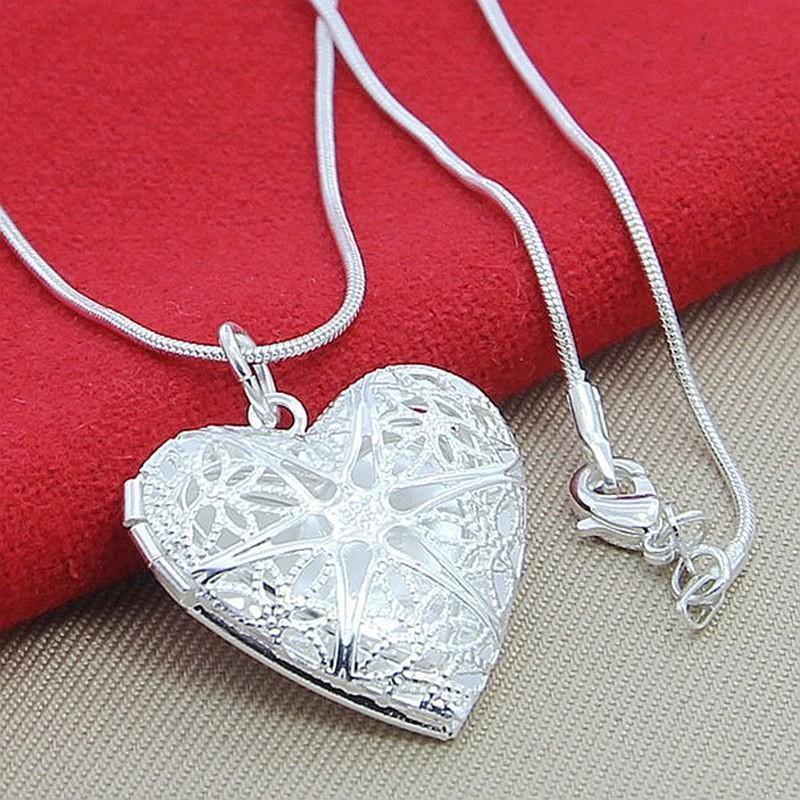 925 Sterling Silver Photo Marco colgante collar 18/20/22/24 pulgada Cadena de serpiente para mujer Joyería de moda de boda del encanto