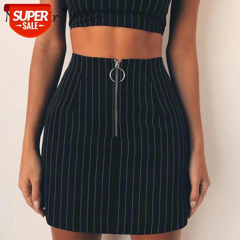 Случайные полосатые тонкие высокие талии молния прямые короткие юбки женщины летняя вечеринка пляжная юбка # YJ5E