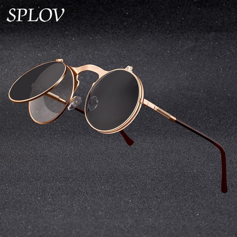 Splov Vintage Steampunk Flip Retro Metais De Metais Quadro Óculos De Sol para Homens Marca Designer Círculo Vidro Oculos