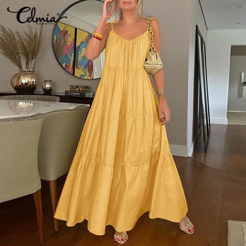 Kadınlar Seksi Spagetti Sapanlar Yaz Plaj Elbise Celmia 2021 Casual Gevşek Kolsuz Sundress Katı V Yaka Maxi Vestidos S-5XL Elbiseler