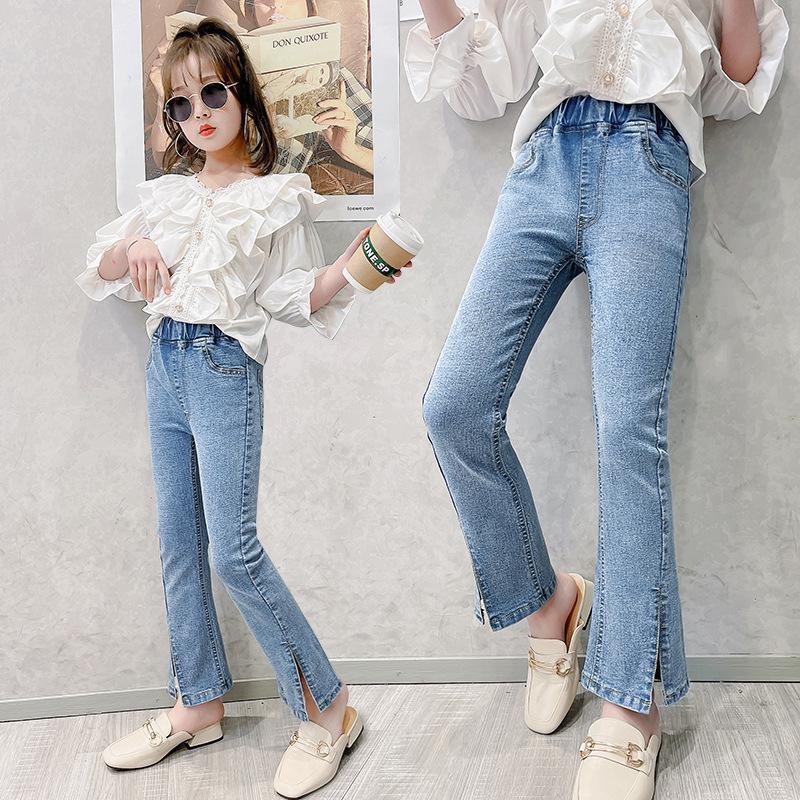 Jeans Children's Autumn 2021 Kids High Waist Denim Pants Blue Elastic Girl Clothes Bow Teens Boot Cut Girls Trousers