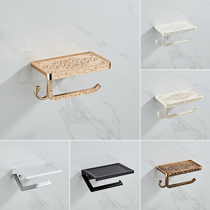 Duş Perdeleri Banyo Donanım Seti Beyaz Kağıt Cep Telefonu Tutucu Uzay Alüminyum Antika Rulo Raf Tuvalet Kutusu Duvara Dağı