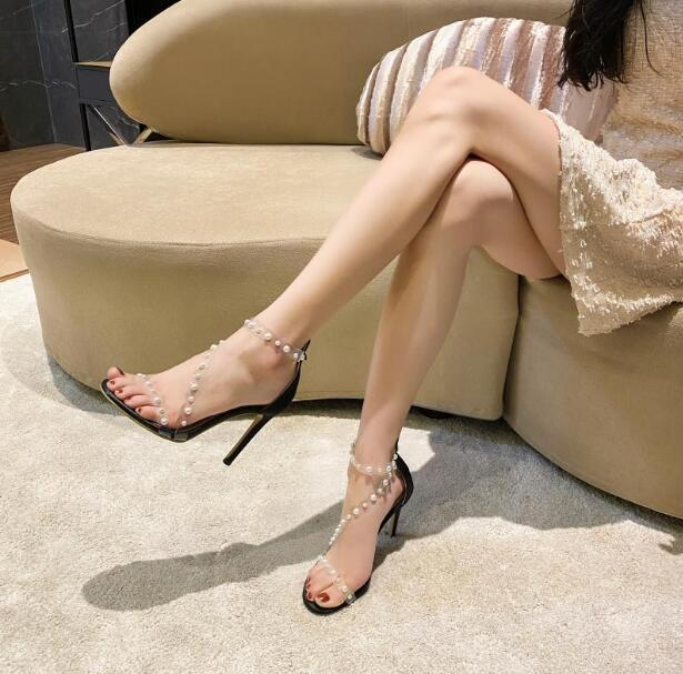 Dipsloot Fashion Woman Summer Clear PVC Perle Sandali femminili Zipper Coperchio posteriore Cappuccio Tacco Cross Stilotto Tacchi Pompe Scarpe