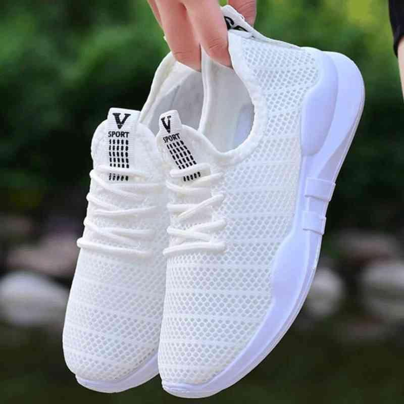 Hot Selling Summer New Style Women's Outdoor Sneakers Comfortable Breathable Hollow Casual Shoes Sports Mesh Womans White Shoes 210322