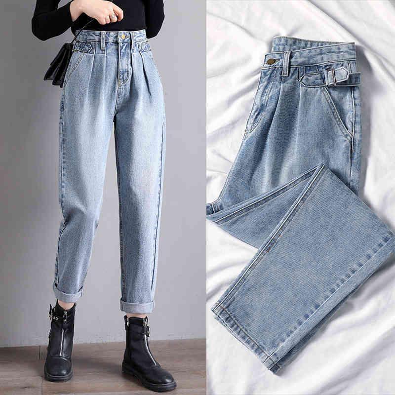 Los nuevos jeans de las mujeres suelen harem alta cintura alta y las piernas anchas delgadas, el padre coreano recto, Broek