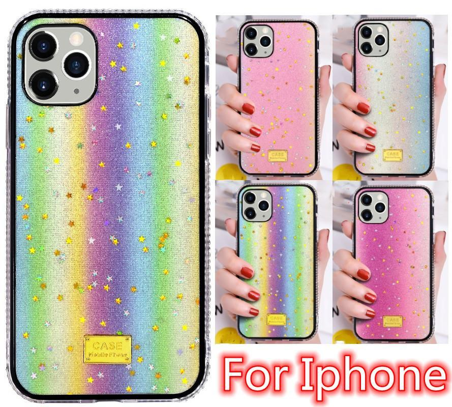 Luminous Luxury Bling Bling Glitter Glitter 케이스 아이폰 11 12 Pro 6 7 8 Plus X XR XS Max 다이아몬드 백 커버 케이스