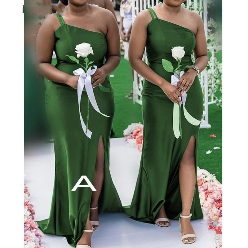 Simple Green Mermaid Bridesmaid Dresses One Shoulder Sweetheart Side Split Sweep Train Garden Country Wedding Guest Party Gowns Maid of Honor Dress