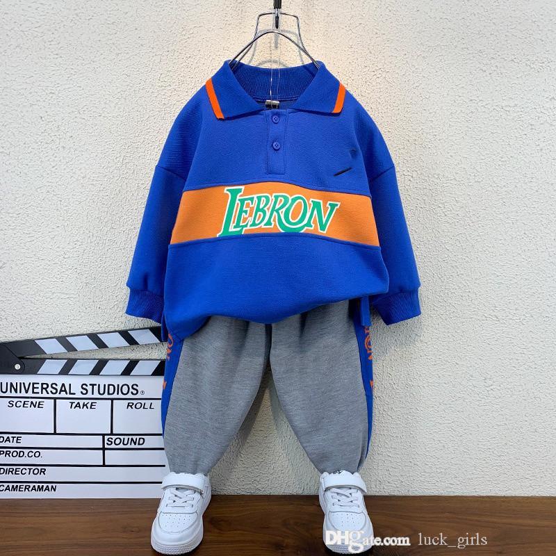 Designer boys embroidery clothing sets 2021 kids cartoon lapel long sleeve sweatshirt+letter printed pants 2pcs suits autumn children sports outfits 0S1671