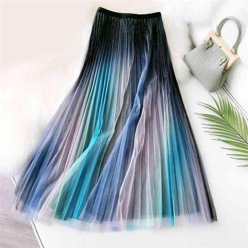 Molla elastica Elastico Elastico Slim Fashion Rainbow Gonna All-Match Casual Donne Mesh Pleated Long Free 210527