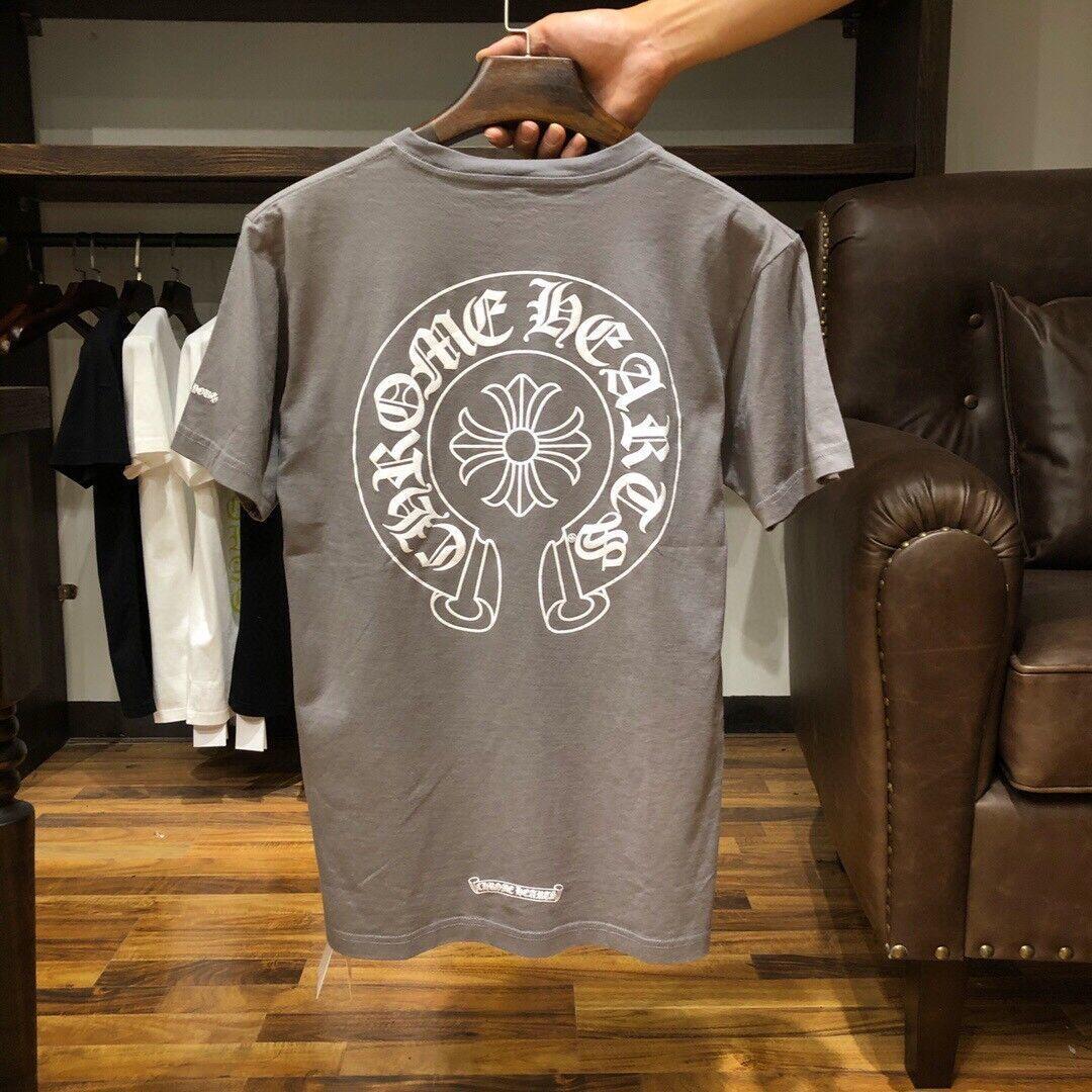 Chrome-ascolta la moda maschile da donna e marca Ch Crosin Horseshoe Cemento Grigio croce stampato T-shirt corta con mezza manica inferiore