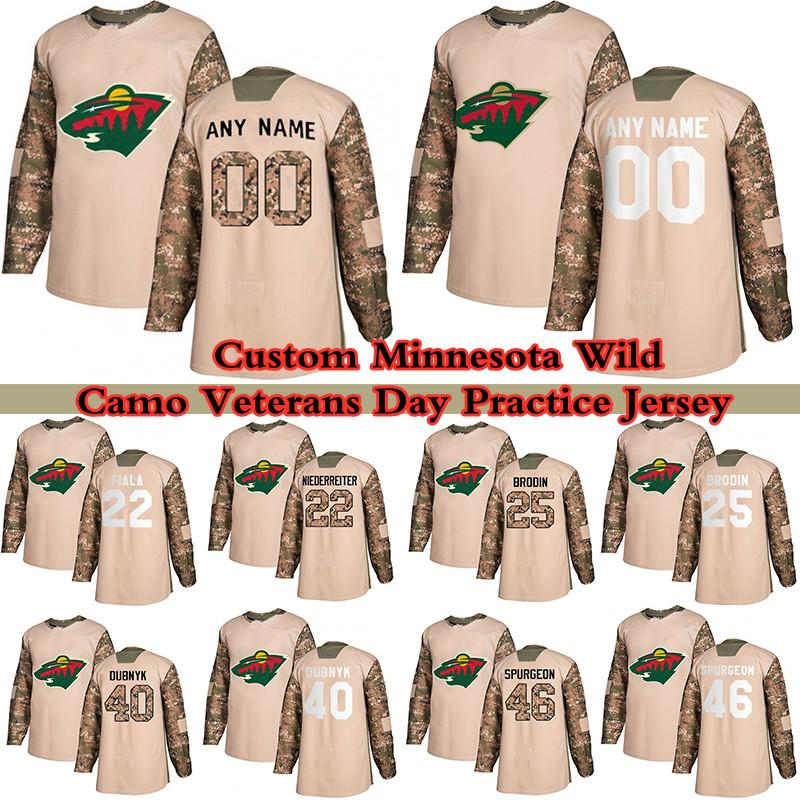 Custom Camo Veterans Dia Prática Minnesota Selvagem Hóquei Jerseys 11 Zach Parise 16 Jason Zucker 3 Charlie Coyle 20 Ryan Suter Qualquer número e nome