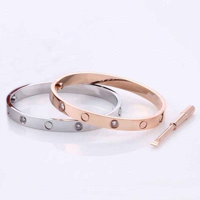 Оптовая продажа камня браслет из нержавеющей стали влюбленные браслеты серебряные розовые золото для женщин мужчины винт отвертки браслет пара ювелирных изделий женщина с сумкой