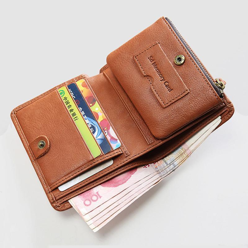 جلد طبيعي محفظة للرجال الذكور جلد البقر الفاخرة خمر رجل قصير bifold محفظة حامل بطاقة مع سستة عملة جيب حقيبة حقيبة محافظ