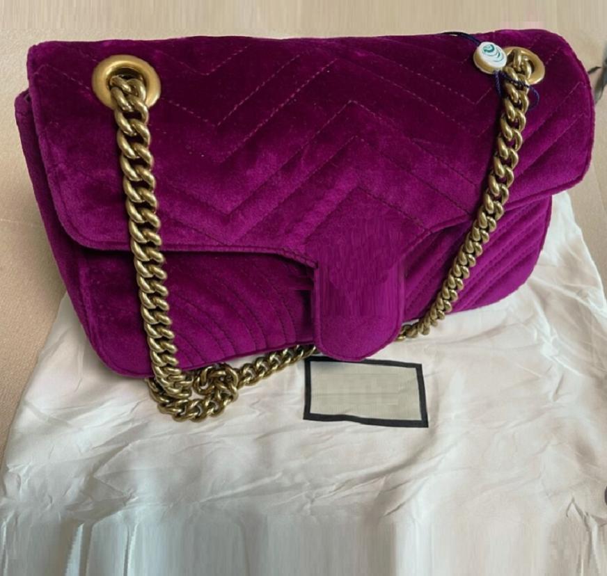 Tasarımcı-Marmont Kadife Çanta Çanta Kadın Omuz Çantası Tasarımcısı Çanta Çantalar Zincir Moda Crossbody Çanta