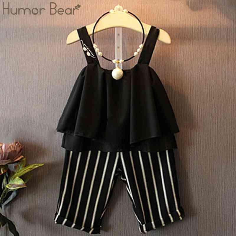 Humor Urso Crianças Roupas Moda Verão Meninas Roupas Conjuntos Moda Chiffon Sling Lothes + Calças Striped Meninas Crianças roupas 210322