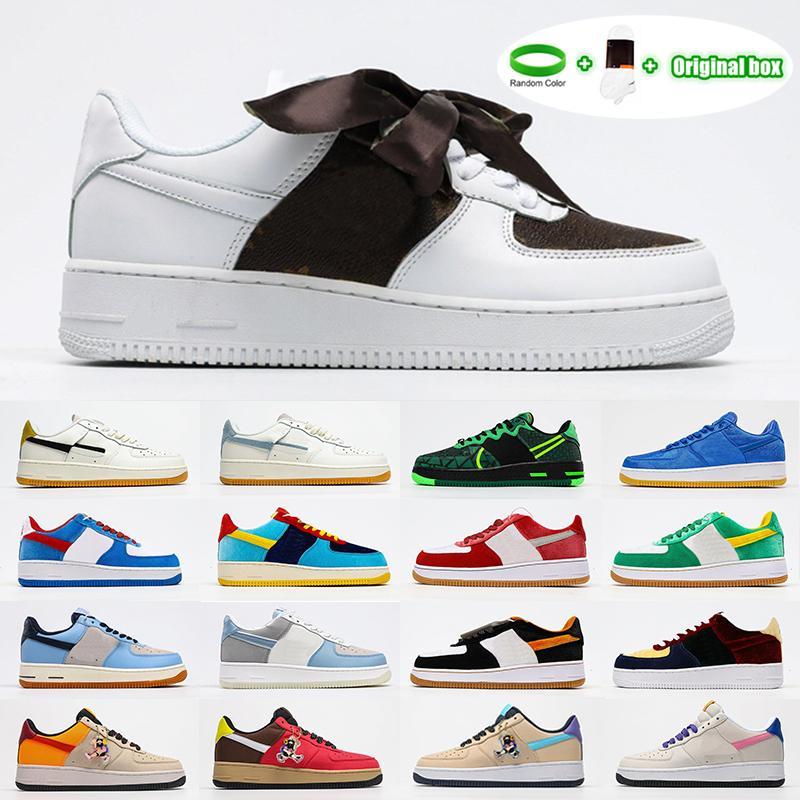 [سوار + الجوارب + المربع الأصلي] غور تكس الأحذية عارضة وظيفية سوداء البني البيج منخفضة الأعلى الرياضة والترفيه أحذية CLOT X Nike Air Force 1 Blue Silk مدمج مرونة تنطيب نعل