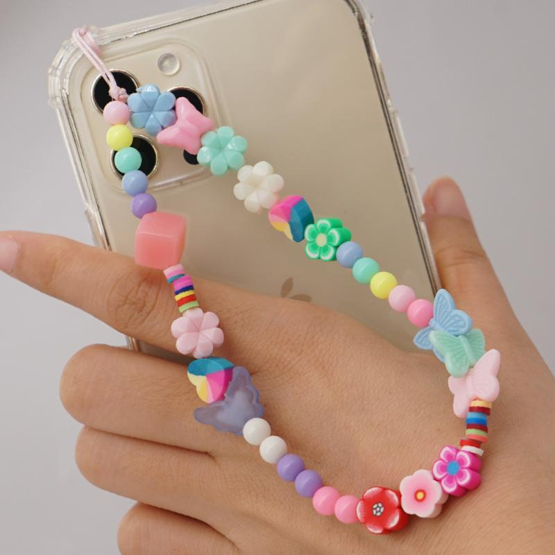 Link, Chain Fine Lady Round Beads Mobile Phone Lanyard Soft Ceramic Clay Polymer Plastic Women Flower Butterfly