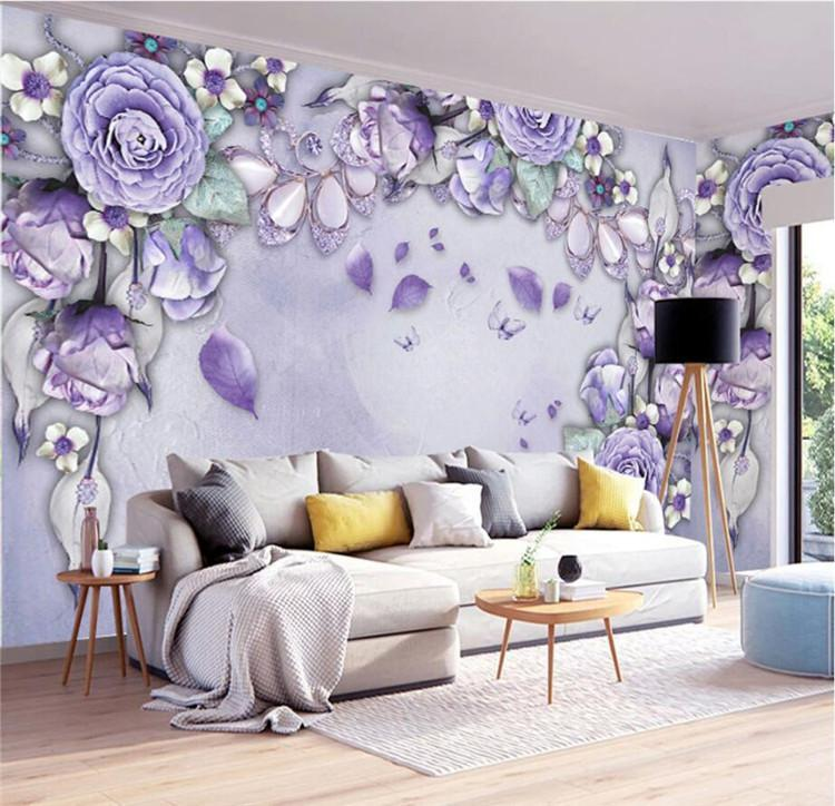 Wallpapers Custom Po Wallpaper 3D Mural Wall Sticker Purple Modern Simple Silk Jewelry Background Papel De Parede