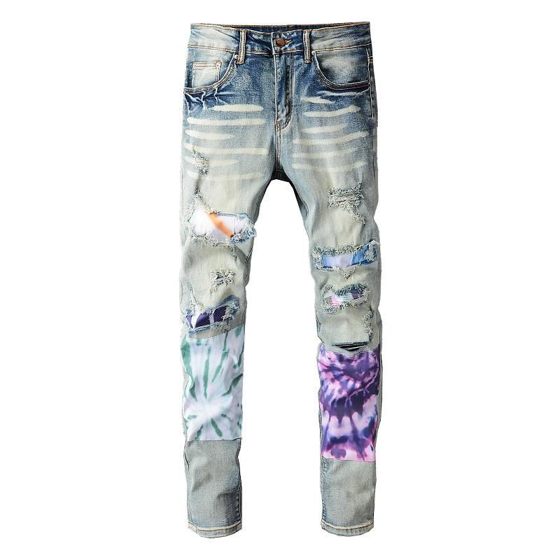 2021 Erkek Tasarımcı Kot Pantolon Sıkıntılı Yırtık Biker Slim Fit Motosiklet Denim Erkekler için En Kaliteli Moda Jean Mans Pantolon Hommes Purs # 692