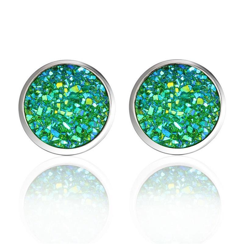 Moda Imitação Stone Cristal Stud Brinco Redondo Gypsophila Druzy Brincos para Mulheres 16 Cores Noivado Casamento Jóias Presentes 161 Q2