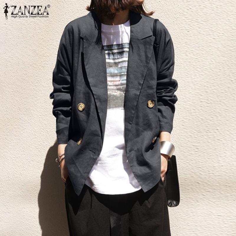 Стильные женские осенние пальто 2021 занзеа хлопчатобумажные пиджаки повседневные двубортные варианты женские твердые вершины плюс размер кардиган